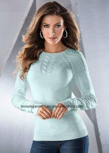 OEMの女性の方法円形の首の長い袖のセーターの衣服