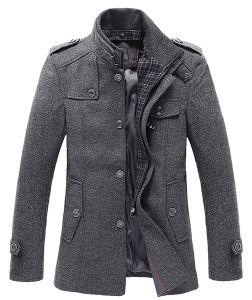 Xiaolv88 dos homens o Inverno elegante mistura de Lã Militar Peito único