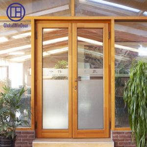 Vidro temperado de madeira sólida entrada de abertura e fechamento da porta com dobradiça durável