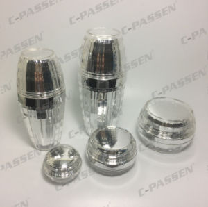 化粧品の包装の水晶銀製のアクリルのクリーム色の瓶のローションのびん(PPC-NEW-090)