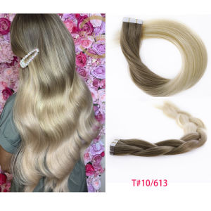"""Высшего качества, 10""""-30"""" 100% нового Реми человеческого волоса бразильского Природные T#10/613 Weft кожи PU ленты удлинитель волос"""