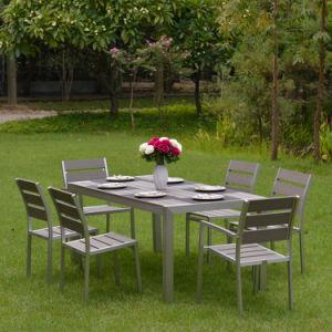 Muebles Silla de tela impermeable juego de comedor mesa de vidrio