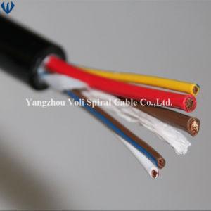 O fio elétrico do cabo de alimentação do cabo eléctrico 2 3 4 núcleos com isolamento de PVC flexível no fio do cabo em espiral