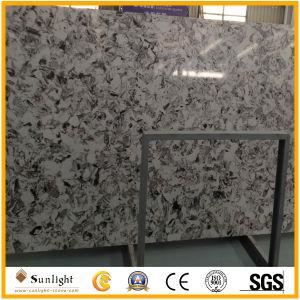 Ausgeführter künstlicher weißer Quarz-Stein für Küche-Oberseiten