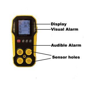 カスタマイズされる1つの検光子の炭鉱の安全器械のポータブル4のマルチガスの探知器に付きガスの漏出探知器、携帯用CH4またはLel Co H2s O2マルチ4つ