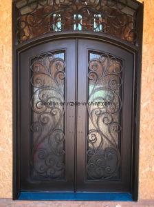 Hecho a mano de hierro forjado con pantalla de la puerta de entrada de seguridad