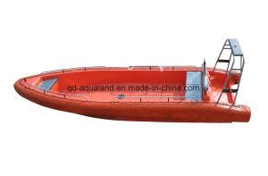 Aqualand 26feet 8mの固体泡のフェンダーのSponsonのNon-Air満たされた管のガラス繊維の堅く膨脹可能なレスキューパトロールの軍の/Ribモーター川船(rib800)