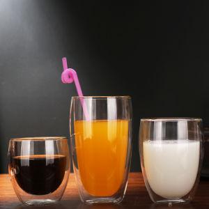 二重壁の熱および冷たい抵抗のガラスビンのコーヒーカップ