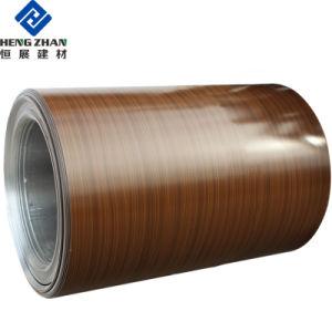 Prix de revient du grain du bois de la bobine en aluminium à revêtement de couleur pour les couvertures et revêtements mur