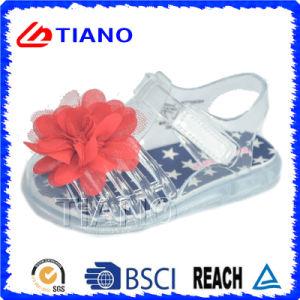 Сандалия студня PVC новой девушки конструкции напольная с цветком (TNK50022-1)