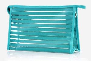De façon transparente en PVC à rayures Cosmetic Toiletry Wash Bag (YKY7534)