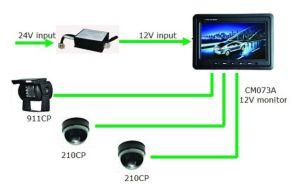 7-дюймовый цветной TFT ЖК-дисплей для 3 камер на дисплее по шине CAN