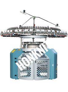 羊毛の円の編む機械に3通しなさい