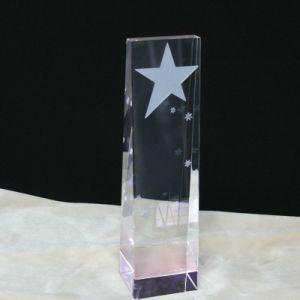 Trofeo de cristal con Five-Pointed estrellas