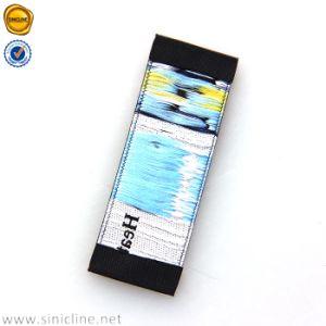Sinicline colorido extremo de la base de color negro de alta definición Foled etiqueta tejida