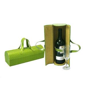 Singolo contenitore di cuoio su ordinazione alla moda di vino (6135R7)