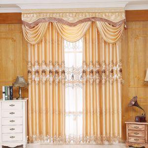 Corte de poliéster Soluble en agua con bordado Blackout cortina de ventana (28W0045)