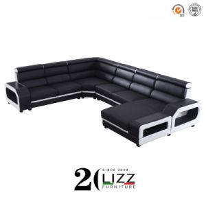 Sala de estar moderna sofá confortável sofá de couro de alta-de-cabeça