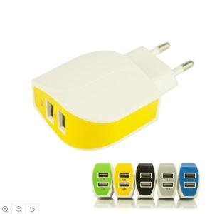 puerto USB doble tapón de la UE Forma de la hoja de teléfonos móviles cargador de pared cargador de viaje
