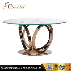 Restaurante moderno mobiliario personalizado redondo Cristal oro rosa mesa de comedor