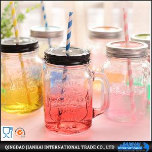 tazza colorata 450ml del vetro da bottiglia della spremuta con il coperchio e la maniglia