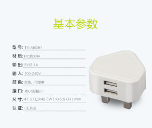Casa de parede USB de porta dupla com carregador adaptador de viagem universal