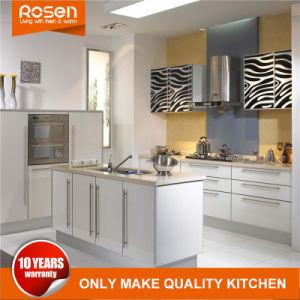 Design moderno estilo simples de armários de cozinha de PVC em acrílico branco conjunto de móveis