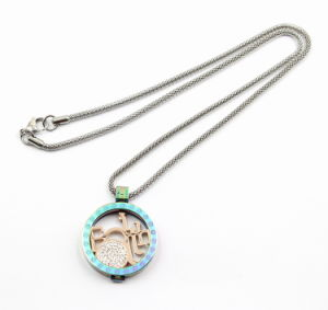 Rainbow 316L Stainless Steel Floating Locket Pendant Necklace