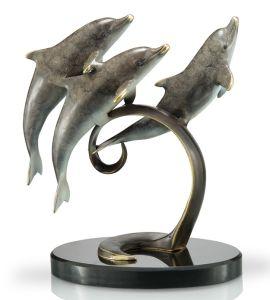 De levensgrote Decoratie van de Tuin van het Beeldhouwwerk van de Dolfijn van het Brons/Dierlijk Beeldhouwwerk