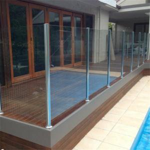 Het Traliewerk/de Balustrade van het Glas van het Ontwerp van het balkon met Roestvrije Post Stel