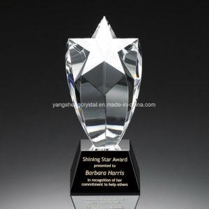 Großhandelsacrylkristalltrophäe mit Stern fünf