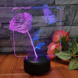 アマゾン熱い販売3D LEDランプ3Dの花の蝶赤ん坊のスリープの状態である照明夜ライト