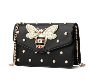 Handtasche der China-Fabrik-Perlen-Bienen-Verschluss-Dame-Crossbody