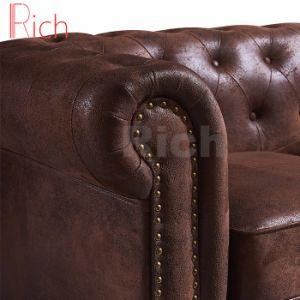 مصنع بالجملة أثاث لازم كلاسيكيّة تصميم غلّة كرم جلد شسترفيلد أريكة