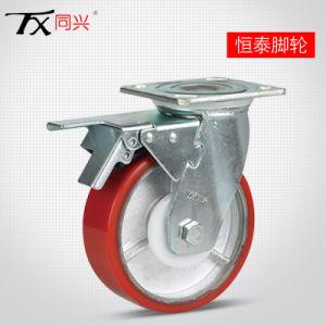"""6"""" núcleo de ferro Giratório de poliuretano roda pivotante com freio (Plano)"""