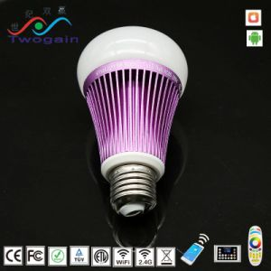 Intelligent 8W Iluminación Interior LED E27 Diammable RGB LED Efecto Luz de lámpara de WiFi inteligente