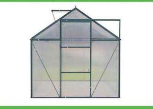 Casa verde do jardim com série do CH da folha do policarbonato