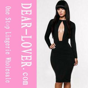 Оптовая торговля новой моды мало черный MIDI платья