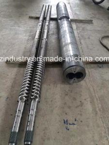 husillo y cilindro doble paralelo a la máquina extrusora de plástico