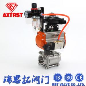 Acero inoxidable 3PC Válvula de bola con actuador neumática