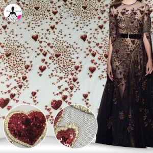Conception Heart-Shaped broderie rouge Sequin brodé Tissu à mailles de mariée