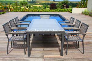 Muebles de Jardín Piscina Polywood mayorista juego de comedor Muebles de aluminio Hotel juego de mesa y sillas de comedor Muebles de Patio