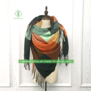 Российская Клетчатую кашемира квадратных шарфом моды леди шаль с Tassel