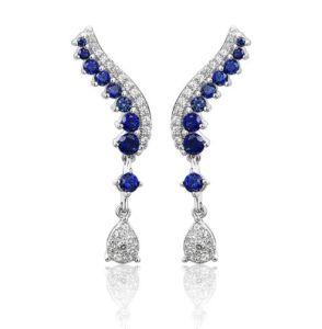 Blue Sapphire Sterling Prata Earring Classic Sapphire Jóias Top qualidade