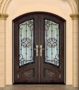 Entrée principale de la sécurité porte en fer forgé avec fenêtre en verre utilisable
