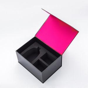 Lujo personalizado labio de la tapa de Aceite Esencial de caja de regalo cosmética rígido embalaje con espuma y satén insertar