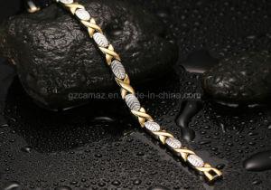Hcc-B06 de la plata con oro de la salud de germanio pulsera de acero inoxidable