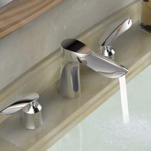 ハンドルの黄銅3の穴の浴室の流しのコックを選抜しなさい