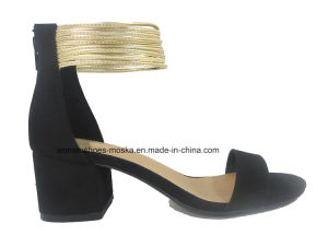 Sexy Lady Fashion Sandales à talons lourds avec cercle d'or