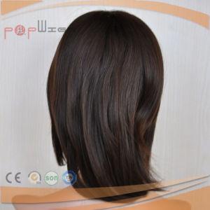 柔らかく黒いRemyのシリコーンの人間の毛髪のかつら(PPG-l-0834)